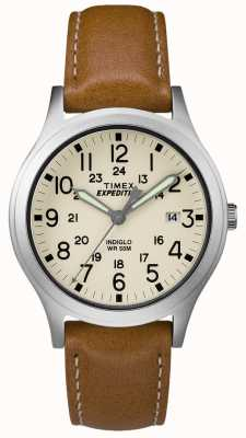 Timex Herren Expeditionsscout Tan Lederband natürliches Zifferblatt TW4B11000