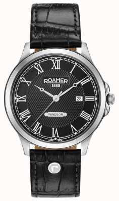 Roamer Windsor schwarzes Zifferblatt schwarzes Lederarmband 706856415207