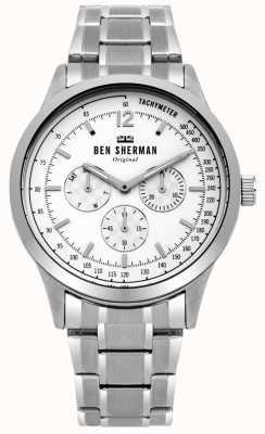 Ben Sherman Herren-Silberarmband weißes Multifunktions-Zifferblatt WB073SM