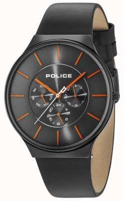 Police Seattle schwarzes Gehäuse graues Zifferblatt schwarzes Lederarmband 15044JSB/13A
