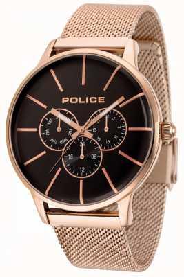 Police Swift Roségold-Armband mit schwarzem Zifferblatt 14999JSR/02MM