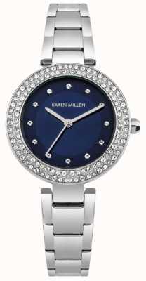 Karen Millen Marineblaues Sunray-Zifferblatt mit Edelstahl-Armband KM164USM