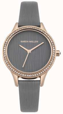 Karen Millen Cooles, graues, strukturiertes Leder-Zifferblatt KM165ERG