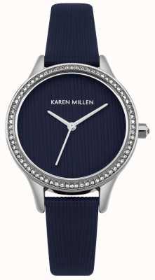 Karen Millen Marineblaues strukturiertes Lederzifferblatt KM165U