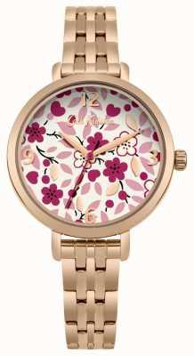 Cath Kidston Rose Gold Armband Blumendruck Zifferblatt CKL037RGM