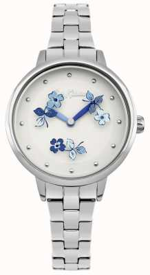 Cath Kidston Blaues, weißes Zifferblatt mit Blumenprint aus Edelstahl CKL039SM