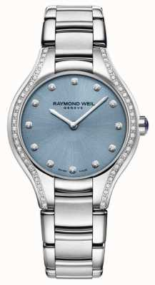 Raymond Weil Womens Noemia Diamant Edelstahl Armband blaues Zifferblatt 5132-STS-50081