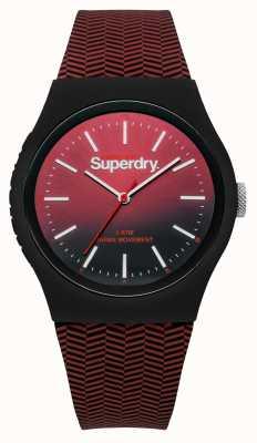 Superdry Rot bis schwarz Farbverlauf Zifferblatt rot gemusterten Gurt SYG184RB