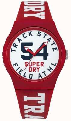 Superdry Verfolgen Sie den Druck des Zifferblattes mit dem weißen, roten Band SYG182WR