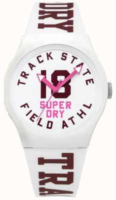Superdry Track-State-Druck Zifferblatt weißes Gesicht weißen Gurt SYL182VW