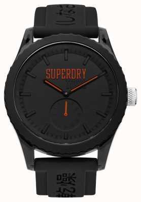 Superdry Tokyo schwarzes Zifferblatt orange Hände schwarzes Silikonband SYG145BB