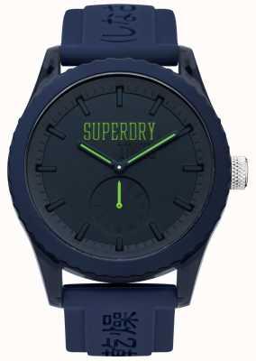 Superdry Tokyo Marine Zifferblatt grün Hände blau Silikonband SYG145UU