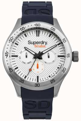 Superdry Scuba weiß gemustertes Zifferblatt blau geprägtes Silikonband SYG210U