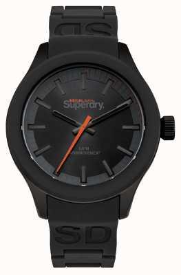 Superdry Schwarzes Zifferblatt schwarzes Gehäuse und schwarzes Silikonband orange Sekunde SYG211EE