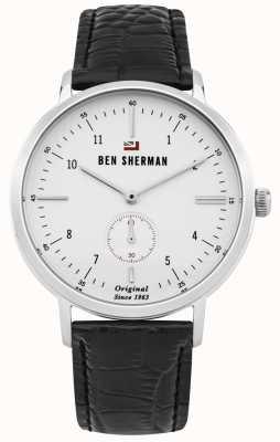 Ben Sherman Das Dylan Professional White Face schwarzes Lederarmband WBS102WB
