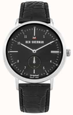 Ben Sherman Das Dylan Professional schwarzes Zifferblatt schwarzes Lederband WBS102BB