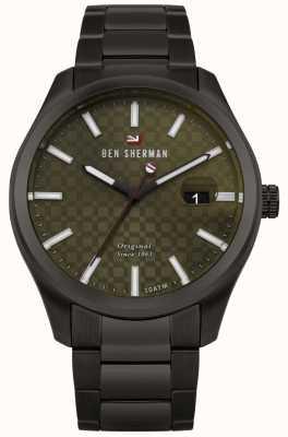 Ben Sherman The ronnie professional grünes Zifferblatt schwarzes Gehäuse Armband WBS109BBM