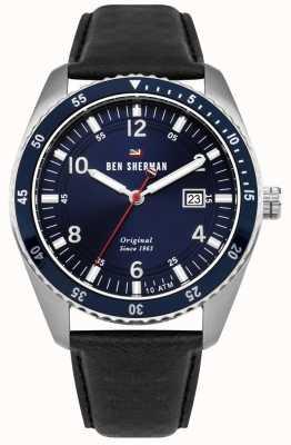 Ben Sherman The ronnie sports blaues Zifferblatt silbernes Gehäuse schwarzes Leder WBS107UB