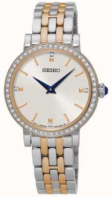 Seiko Womens zwei Ton Armband Kristall Set Fall SFQ810P1
