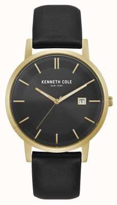 Kenneth Cole New York Datumsanzeige schwarzes Zifferblatt Goldgehäuse schwarzes Leder KC15202002