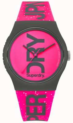 Superdry Womans Glitzer hell rosa Band und Zifferblatt SYL189PP