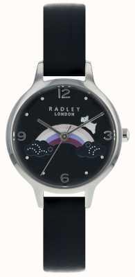 Radley Womans Regenbogen Hund Silber Gehäuse schwarz Lederband RY2556