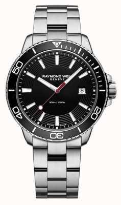 Raymond Weil Herren Tango Edelstahl Armband schwarz Zifferblatt 8260-ST1-20001
