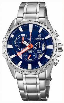 Festina Chronograph Tag & Datum Anzeige blaues Zifferblatt aus Edelstahl F6864/3