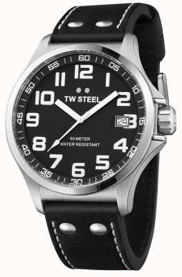TW Steel Herren Pilot schwarzes Lederarmband schwarzes Zifferblatt TW408