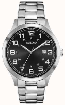 Bulova Datumsanzeige Edelstahlarmband mit schwarzem Zifferblatt 96B274