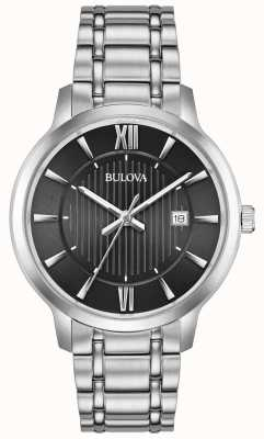 Bulova Datumsanzeige Edelstahlarmband mit schwarzem Zifferblatt 96B278
