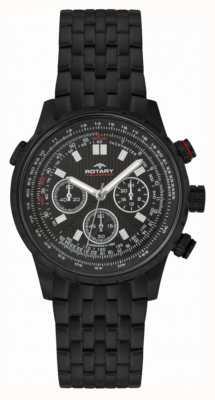 Rotary Herren Chronograph schwarz ip Stahl schwarzes Zifferblatt GB00177/04S