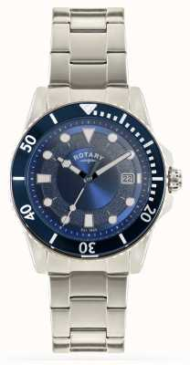 Rotary Mens Edelstahlarmband blaues Zifferblatt GB00487/05