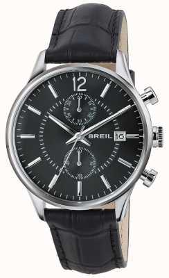 Breil Contempo Edelstahl Chronograph schwarzes Zifferblatt schwarzes Band TW1572