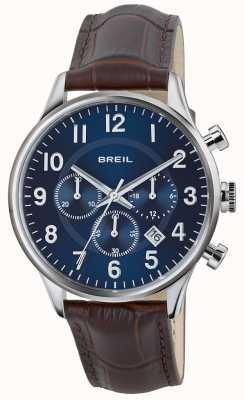 Breil Contempo Edelstahl Chronograph blaues Zifferblatt braun Band TW1576