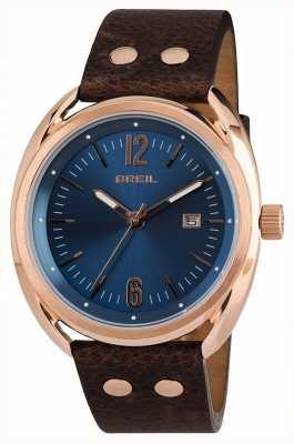 Breil Beaubourg Edelstahl ipr blaues Zifferblatt braunes Armband TW1673