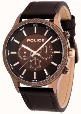 Police Herren Schritt braun Leder Uhr 15002JSBN/12