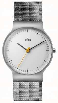Braun Mens klassisch schlankes weißes Zifferblatt Mesh-Armband BN0211WHSLMHG