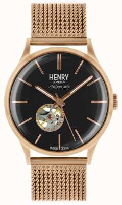 Henry London Mens Heritage Automatik Rose Gold vergoldet Mesh-Armband HL42-AM-0286