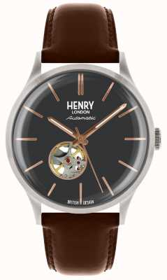 Henry London Mens automatische blaue Zifferblatt Tan Lederband HL42-AS-0281
