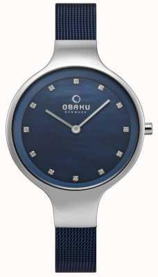 Obaku Damenuhr blau Mesh-Armband V173LXCLML