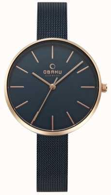 Obaku Womens Viol Uhr schwarzes Stahlgeflecht Armband V211LXVLML