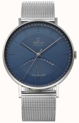 Obaku Mens Ulme Uhr Silber Mesh Armband blaues Zifferblatt V213GUCLMC