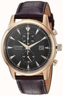 Citizen Herren Chronograph Date braun Lederband CA7003-06E
