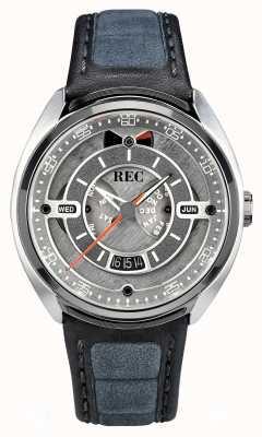 REC Porsche Automatik graues Alcantara Lederband graues Zifferblatt p-901-01