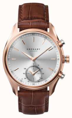Kronaby 43mm sekel * gesehen in gq bluetooth rosegold / leder smartwatch A1000-2746