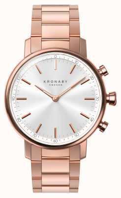 Kronaby 38mm Karat Bluetooth Rose Gold Armband Silber Smartwatch A1000-2446
