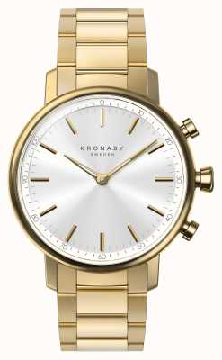 Kronaby 38 mm Karat Bluetooth Gold Armband Silber Zifferblatt Smartwatch A1000-2447