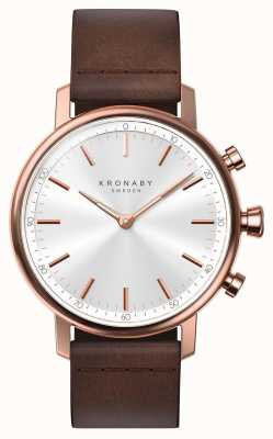 Kronaby 38-mm-Karat-Bluetooth-Roségold-Lederband-Smartwatch A1000-1401
