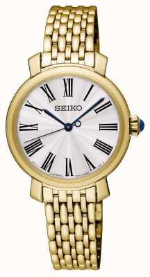 Seiko Damen vergoldetes Armband Uhr weißes Zifferblatt SRZ498P1